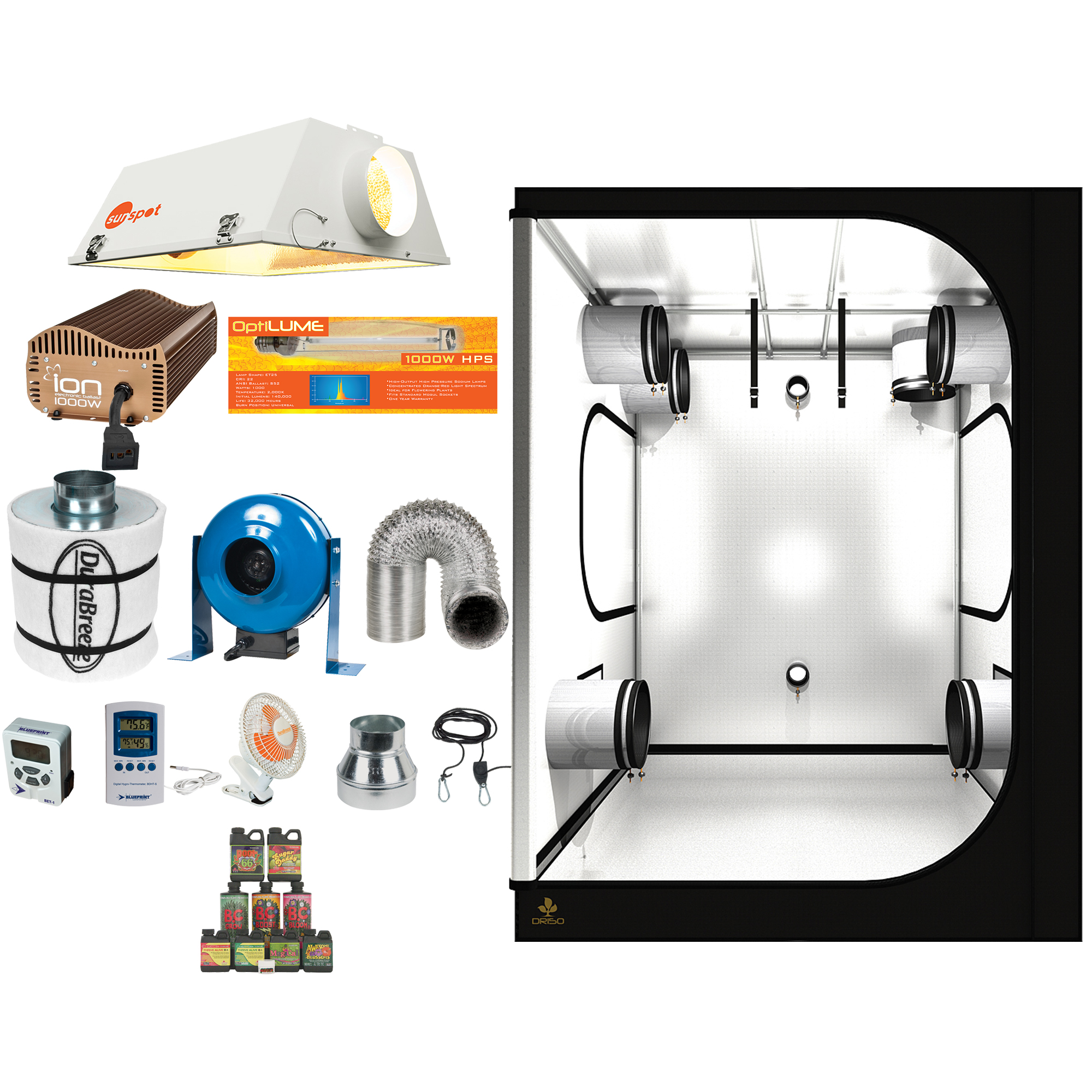 Complete 5 x 5 Grow Tent Kit w/ 1000W Sealed HPS HID, Digital Ballast,  Filter, Fan and more