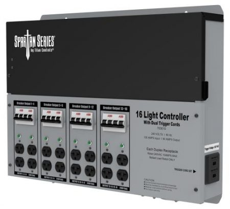 Titan Controls Spartan Series Metal 16 Light Controller 240 Volt w/ Dual Trigger Cords - Universal Outlets