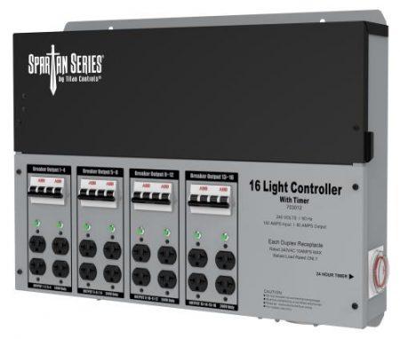 Titan Controls Spartan Series Metal 16 Light Controller 240 Volt w/ Timer - Universal Outlets