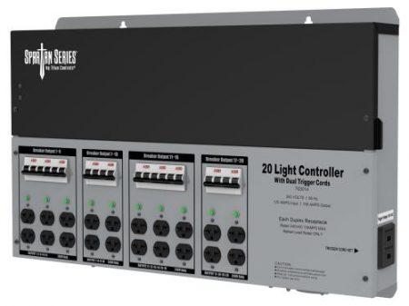 Titan Controls Spartan Series Metal 20 Light Controller 240 Volt w/ Dual Trigger Cords - Universal Outlets
