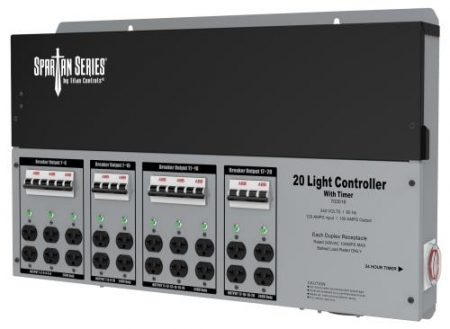 Titan Controls Spartan Series Metal 20 Light Controller 240 Volt w/ Timer - Universal Outlets
