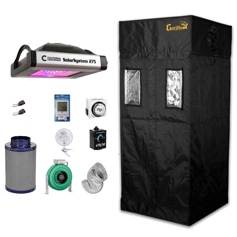 Complete 3 x 3 Gorilla Grow Tent Kit w/ SolarSystem 275 LED Grow Light,  Carbon Filter, Fan and More
