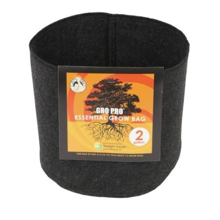 Gro Pro Essential Round Fabric Pot - Black 2 Gallon