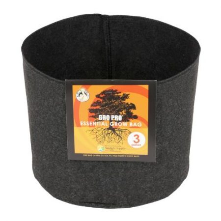 Gro Pro Essential Round Fabric Pot - Black 3 Gallon