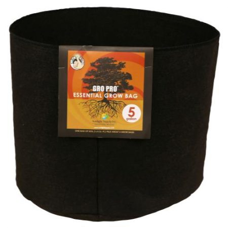 Gro Pro Essential Round Fabric Pot - Black 5 Gallon