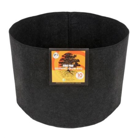 Gro Pro Essential Round Fabric Pot - Black 10 Gallon