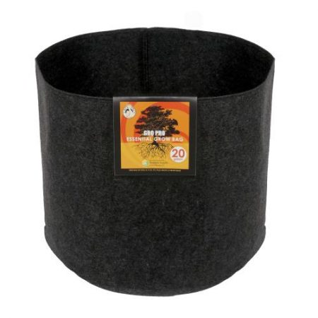 Gro Pro Essential Round Fabric Pot - Black 20 Gallon